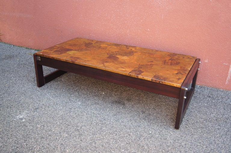 Rosewood and Patchwork Copper Coffee Table by Percival Lafer For Sale 3
