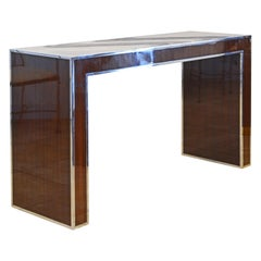 Rosewood and Polished Steel Console Table by Michael Kirkpatrick for Bolier