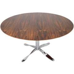 "Rosewood and ""Twisted"" Chrome Base Dining Table"
