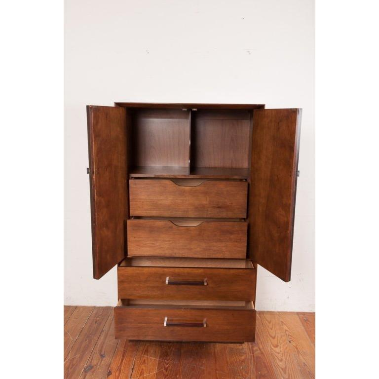 American Rosewood and Walnut Gentleman's Wardrobe Dresser by Lane, circa 1965 For Sale