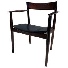 Rosewood Armchair in Original Black Leather