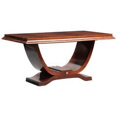 Rosewood Art Deco Lyre Shape Pedestal Dining Table