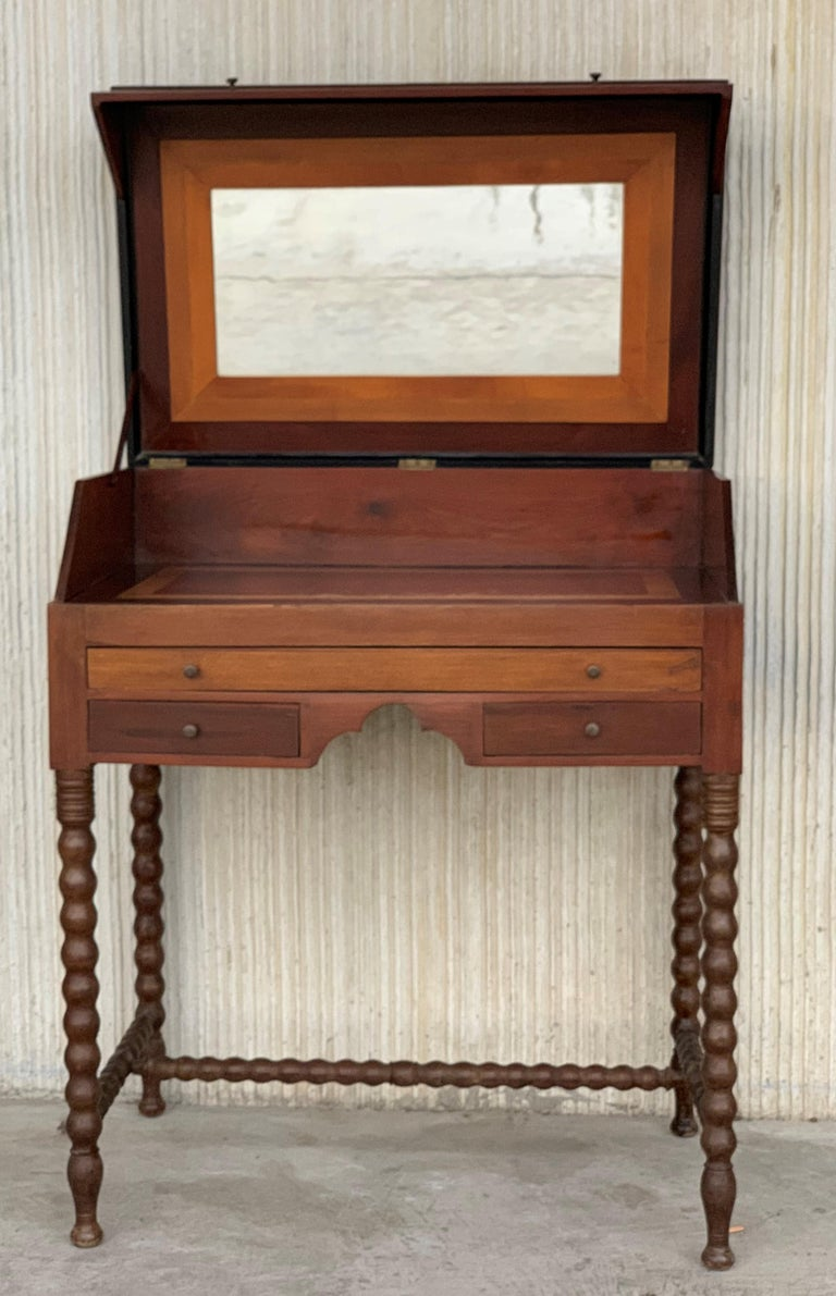 French Rosewood Art Deco Open Up Vanity or Secretary Desk. Dressing Table For Sale