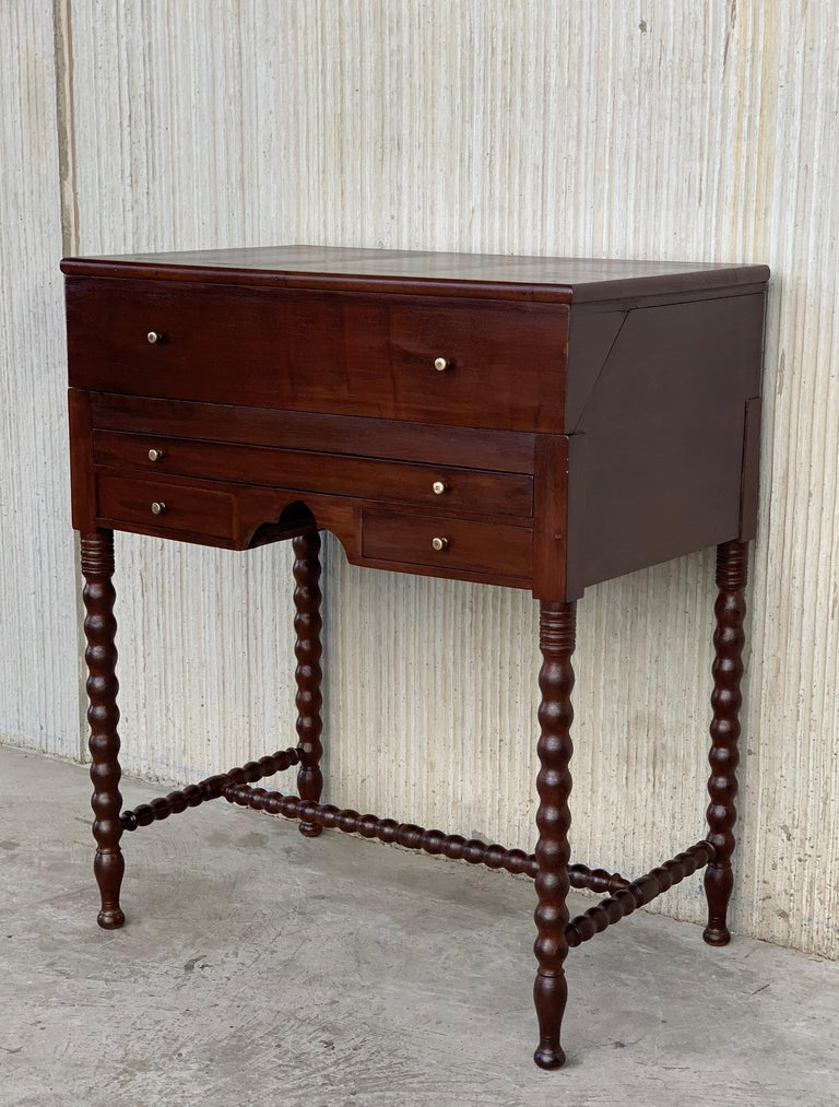 French Rosewood Art Deco Open Up Vanity or Secretary Desk, Dressing Table For Sale