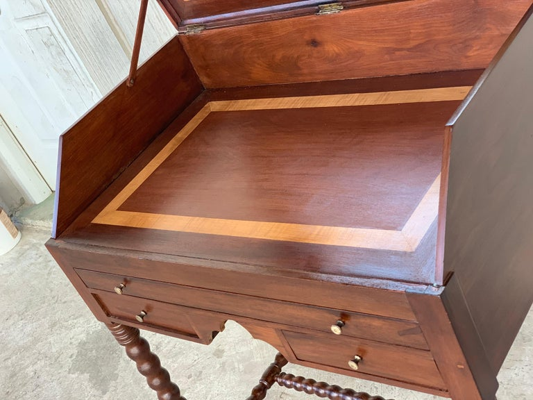 Mirror Rosewood Art Deco Open Up Vanity or Secretary Desk, Dressing Table For Sale
