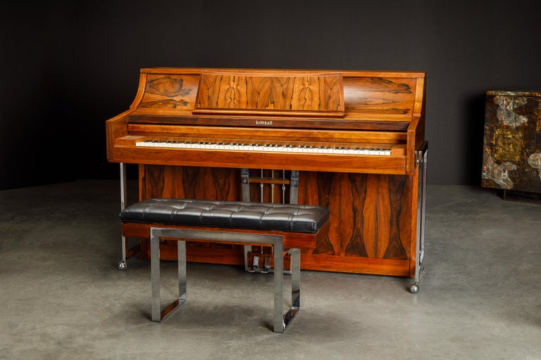 American Rosewood 'Artist Spinet' Mid-Century Modern Piano by Kimball, c. 1960s, Signed For Sale