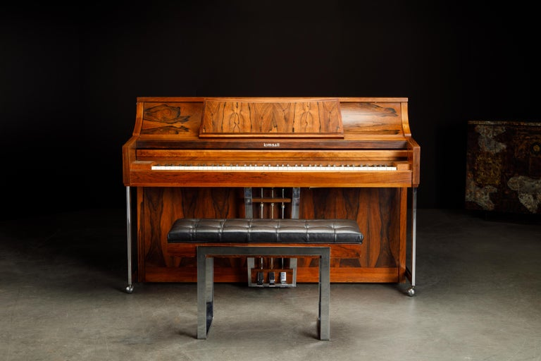 Rosewood 'Artist Spinet' Mid-Century Modern Piano by Kimball, c. 1960s, Signed In Good Condition For Sale In Los Angeles, CA