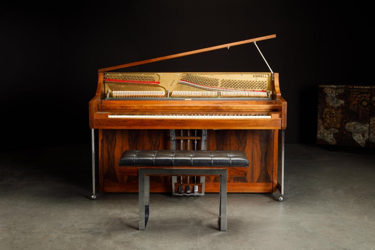 Chrome Rosewood 'Artist Spinet' Mid-Century Modern Piano by Kimball, c. 1960s, Signed For Sale