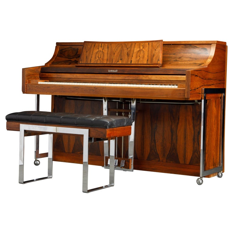 Rosewood 'Artist Spinet' Mid-Century Modern Piano by Kimball, c. 1960s, Signed For Sale