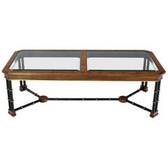 Rosewood Black Lacquer Rectangular Faux Bamboo Coffee Table Beveled Glass Top