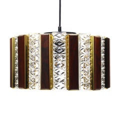 Rosewood, Brass and Glass Pendant Light by Coronell, 1970s