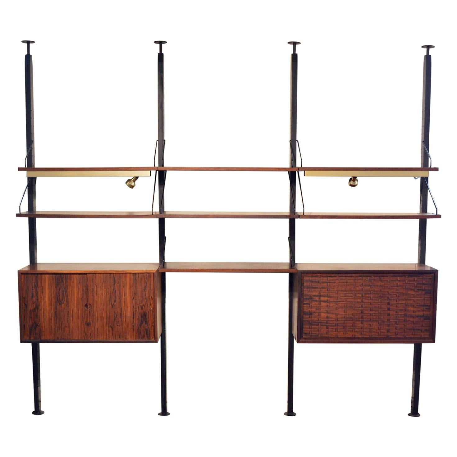 Rosewood Cadovius Lighted Royal System Wall Unit - Room Divider by Cado