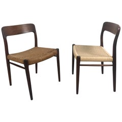Rosewood and Cane Dinning Room Chairs by Niels Otto Møller, Model 75, Denmark