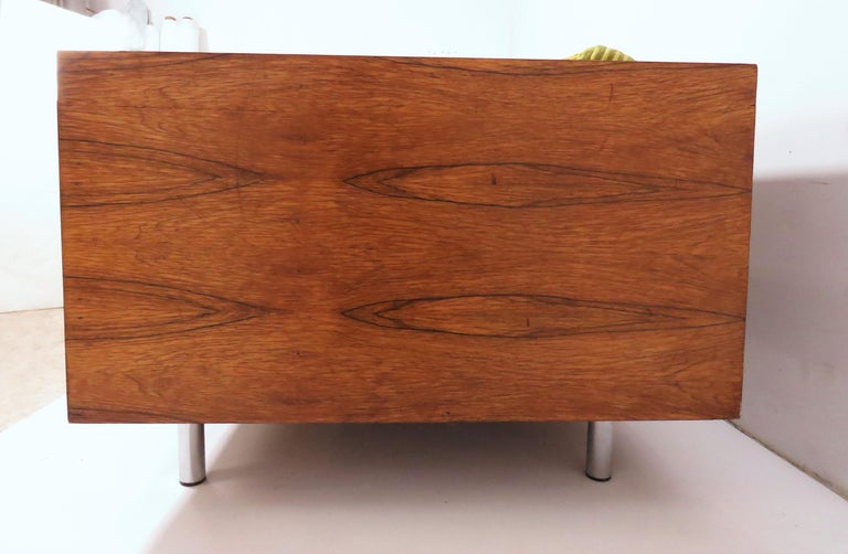 Mid-Century Modern Rosewood Cased Three-Seat Sofa in Manner of Milo Baughman, circa 1970s For Sale