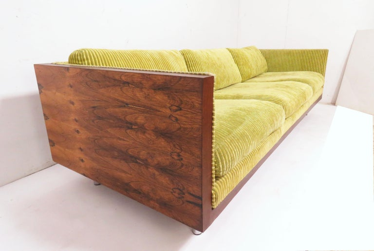 Israeli Rosewood Cased Three-Seat Sofa in Manner of Milo Baughman, circa 1970s For Sale