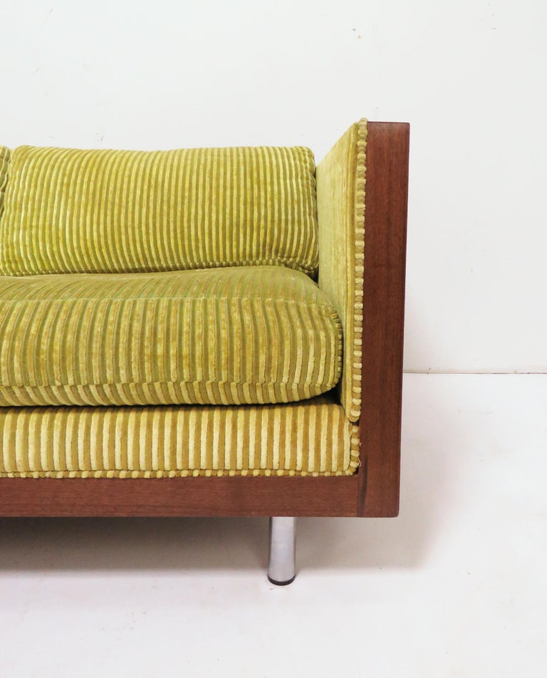 Late 20th Century Rosewood Cased Three-Seat Sofa in Manner of Milo Baughman, circa 1970s For Sale