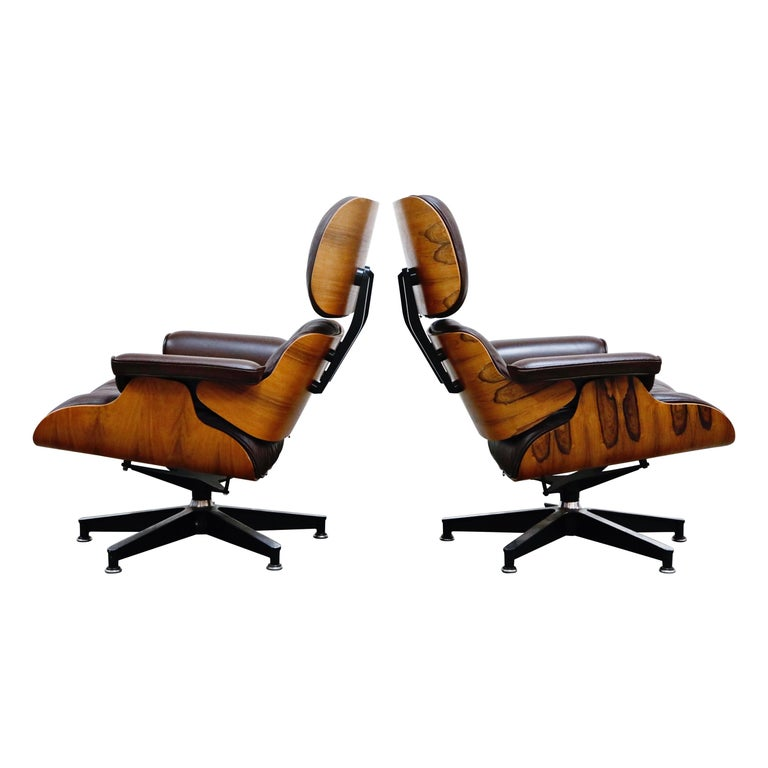 Rosewood Charles Eames Lounge Armchairs For Herman Miller Circa
