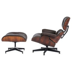 Rosewood Charles Eames Lounge Chair, Herman Miller, Dark Brown Leather