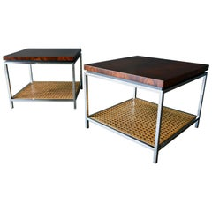 Rosewood, Chrome and Cane Side Tables by Milo Baughman, circa 1970