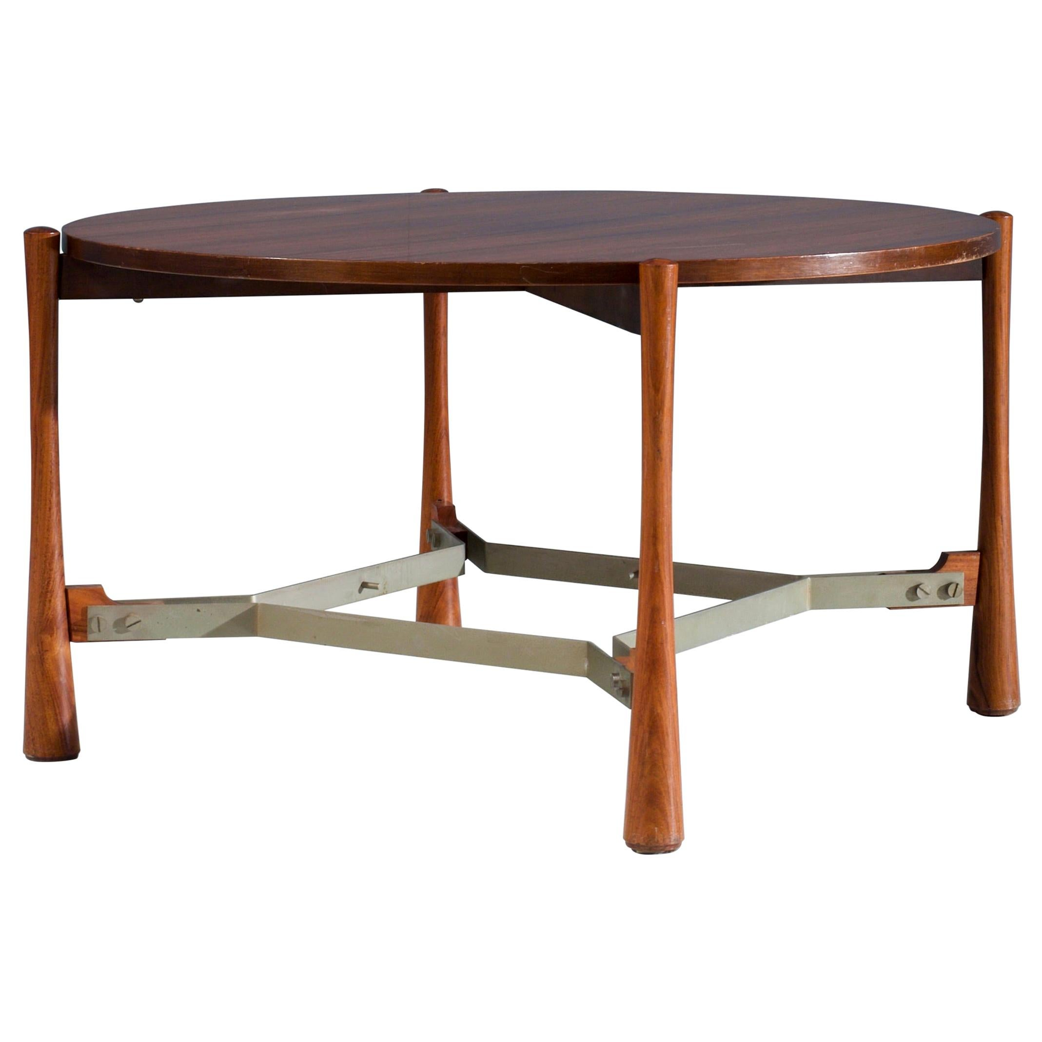 Rosewood Coffee Table in Wood and Metal, Italy, 1970s