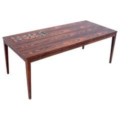 Rosewood Coffee Table with Ceramics, Danish Design, 1960s