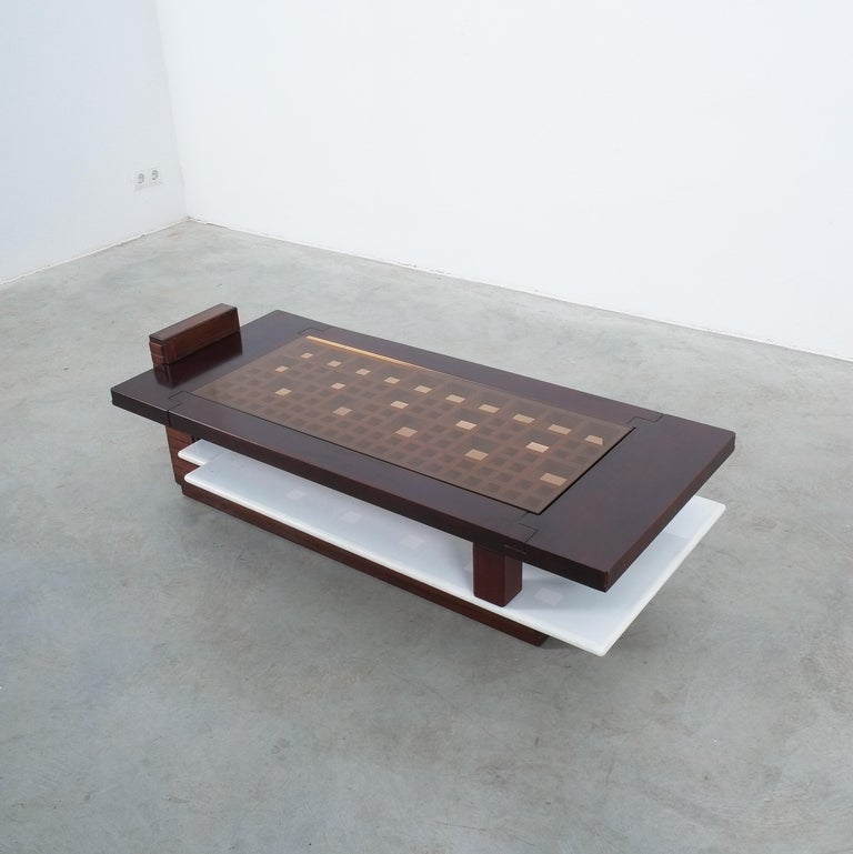 Rosewood Coffee Table with Marble Tray, Circa 1970 For Sale 2