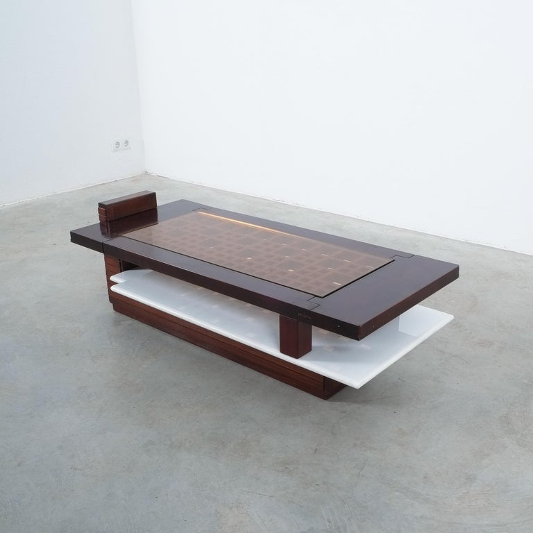 Rosewood Coffee Table with Marble Tray, Circa 1970 For Sale 3