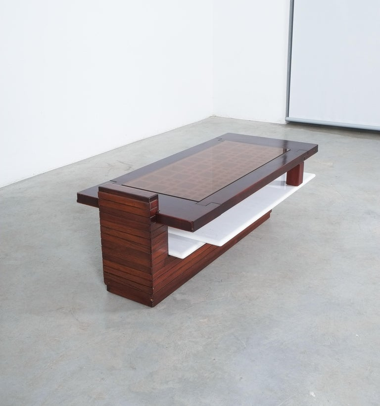 Rosewood Coffee Table with Marble Tray, Circa 1970 For Sale 4