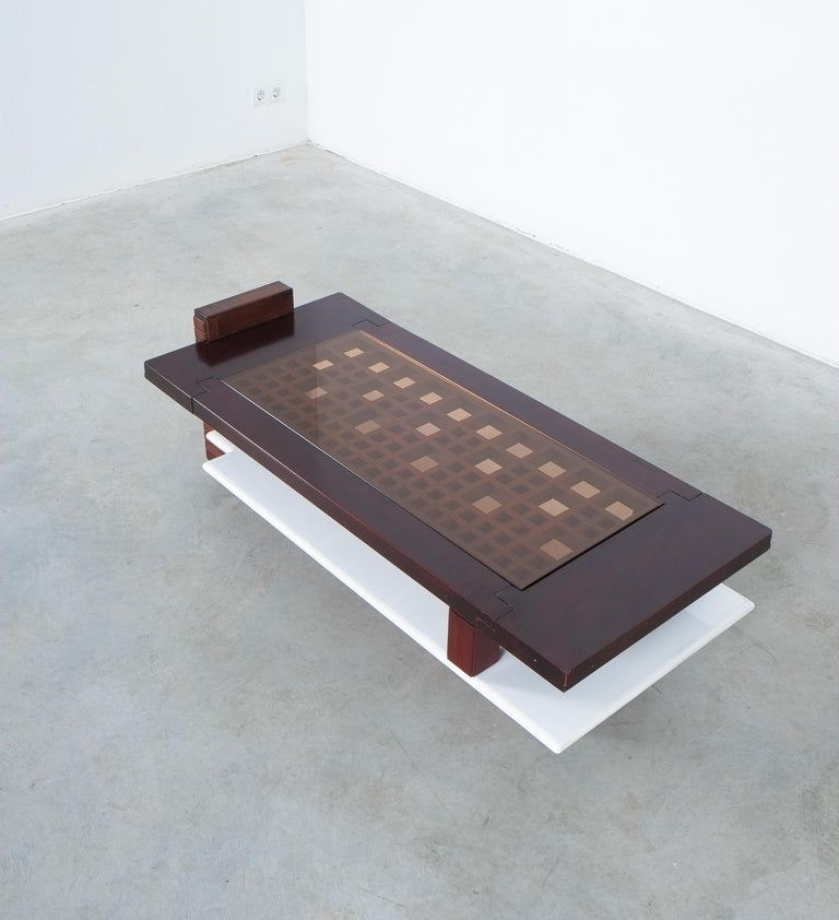Rosewood Coffee Table with Marble Tray, Circa 1970 For Sale 5