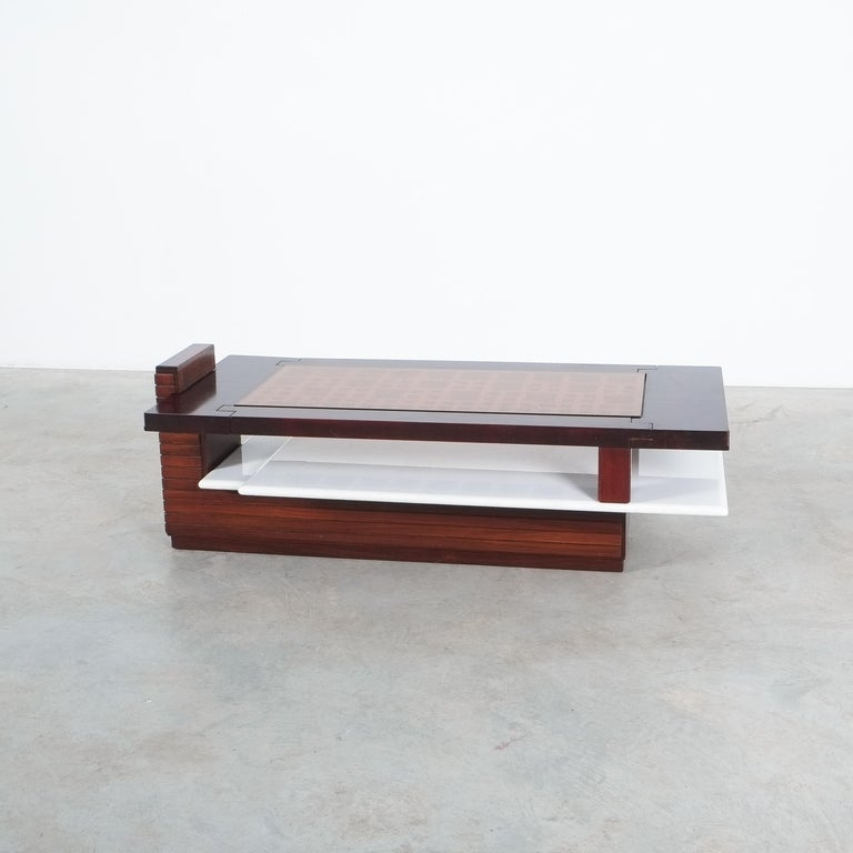 Rosewood Coffee Table with Marble Tray, Circa 1970 For Sale 6