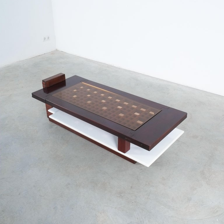 Mid-Century Modern Rosewood Coffee Table with Marble Tray, Circa 1970 For Sale