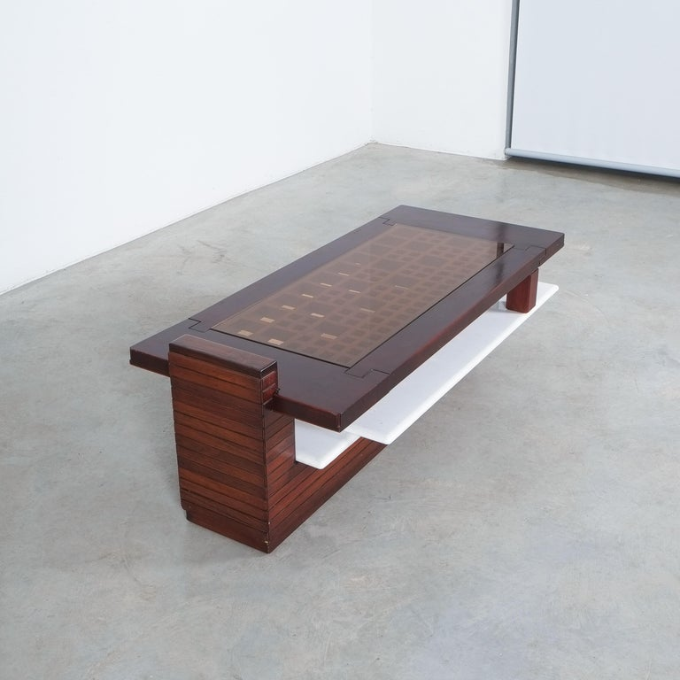 Brazilian Rosewood Coffee Table with Marble Tray, Circa 1970 For Sale