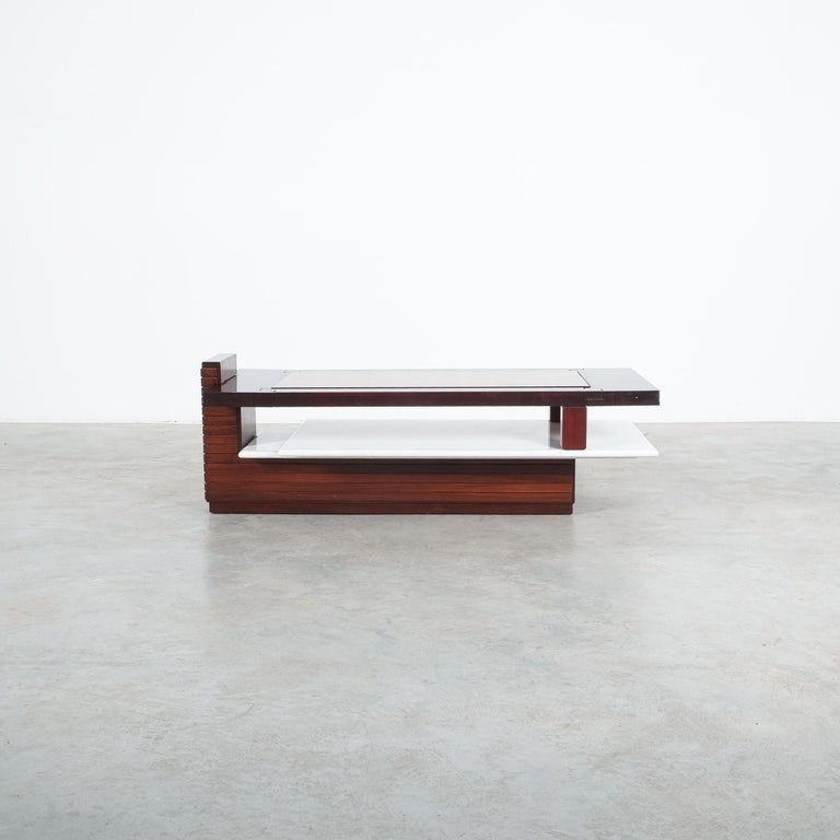 Dyed Rosewood Coffee Table with Marble Tray, Circa 1970 For Sale