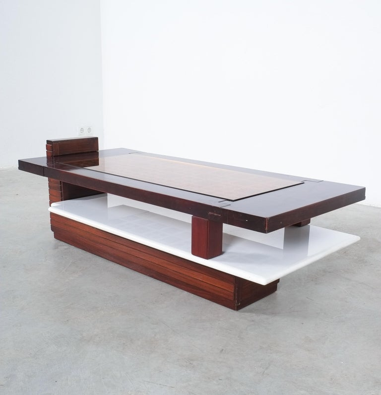 Rosewood Coffee Table with Marble Tray, Circa 1970 In Good Condition For Sale In Vienna, AT