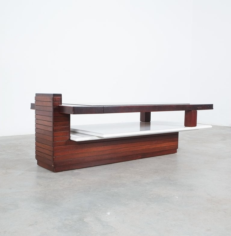Late 20th Century Rosewood Coffee Table with Marble Tray, Circa 1970 For Sale