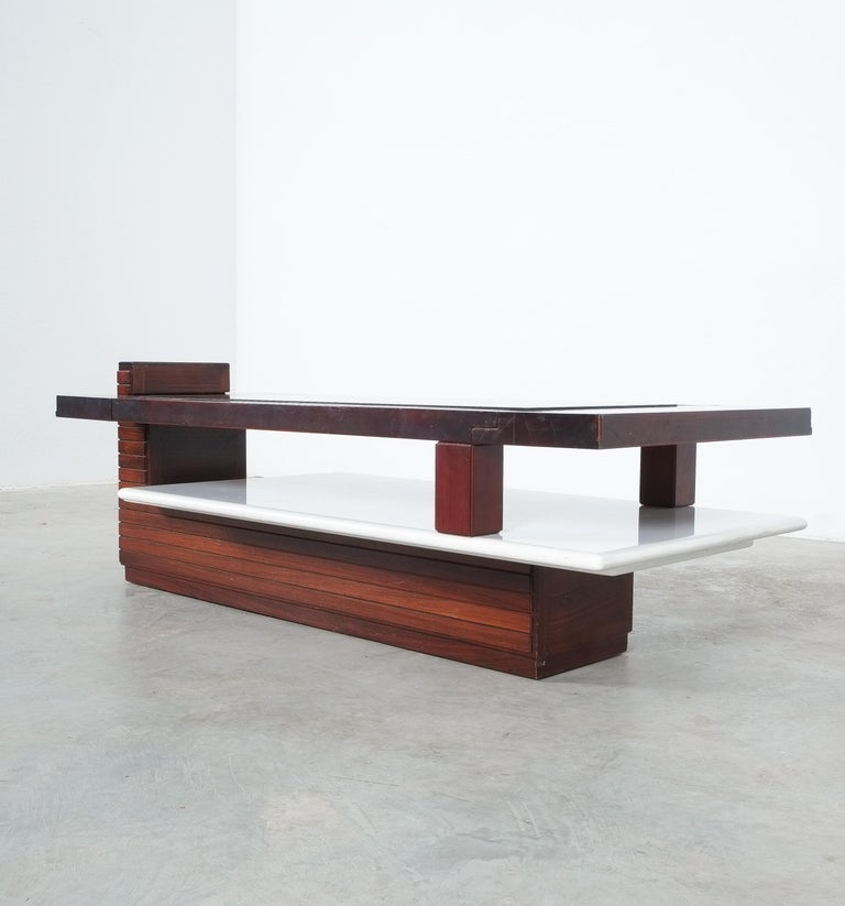 Glass Rosewood Coffee Table with Marble Tray, Circa 1970 For Sale