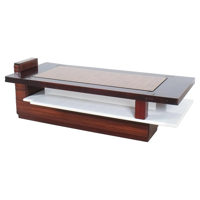 Rosewood Coffee Table with Marble Tray, Circa 1970 For Sale