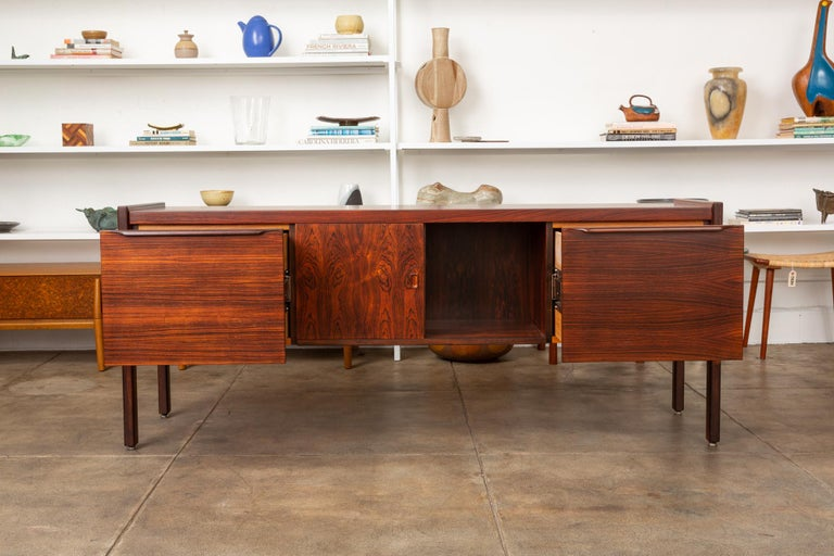 Rosewood Credenza with File Drawers In Excellent Condition For Sale In Los Angeles, CA