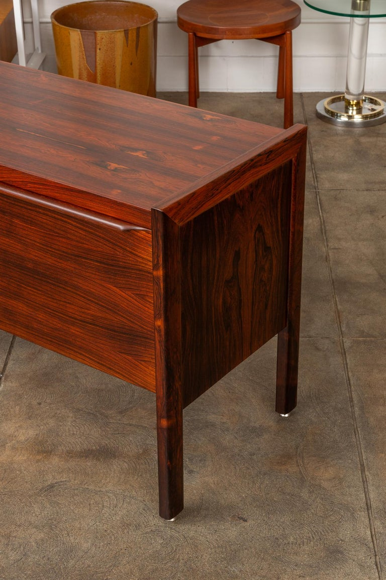 Mid-20th Century Rosewood Credenza with File Drawers For Sale