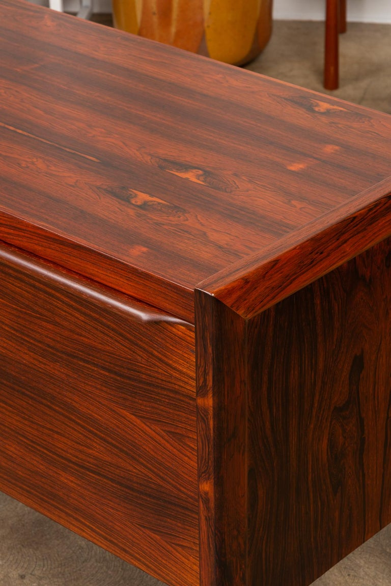 Rosewood Credenza with File Drawers For Sale 1