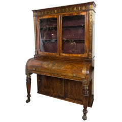 Rosewood Cylinder Top Secretary Bookcase