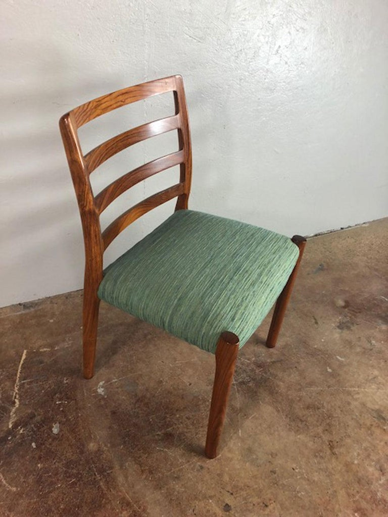 Upholstery Rosewood Danish Dining Chair For Sale
