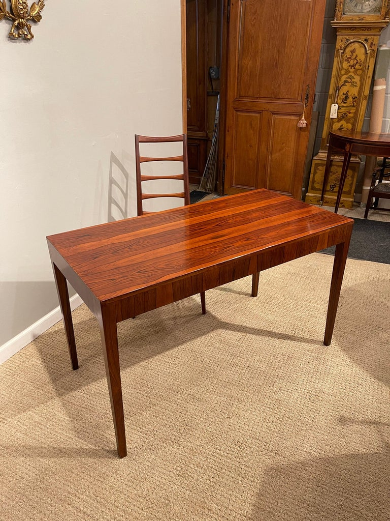 Rosewood Danish Modern Writing Table, by Riis Antonsen For Sale 7