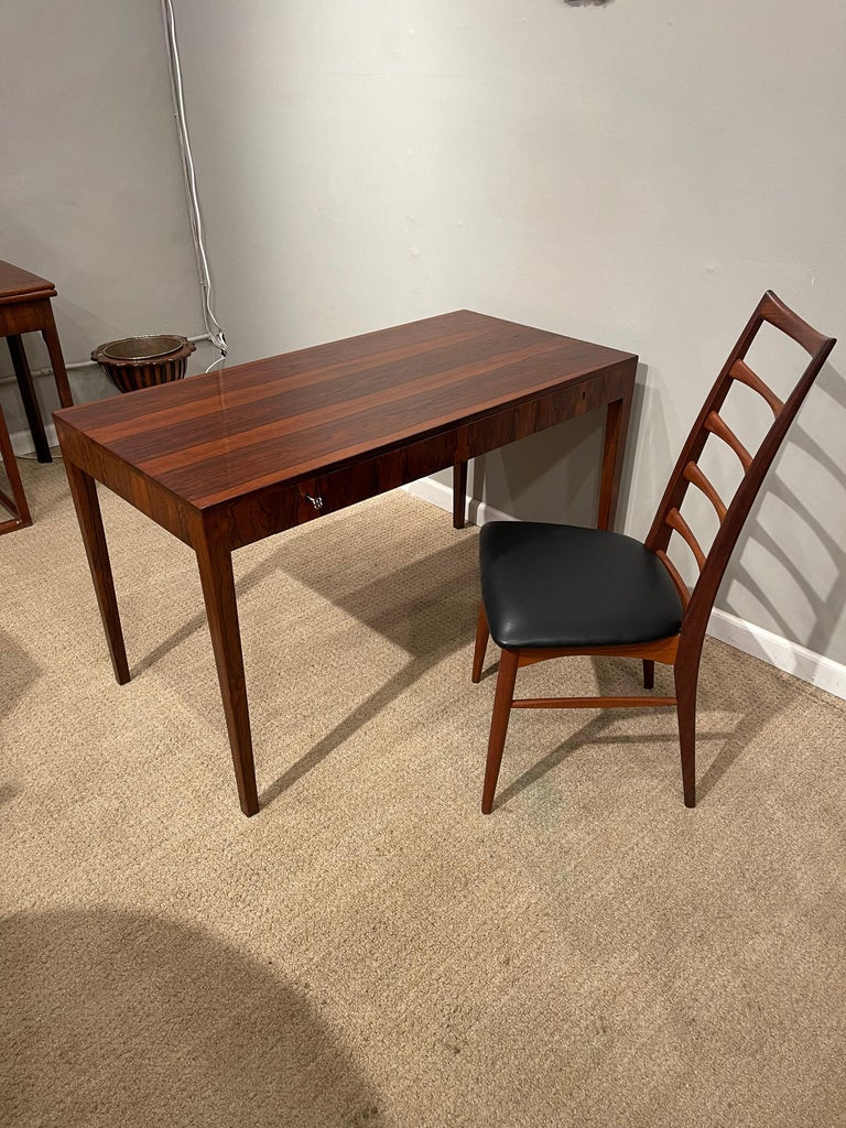 Rosewood Danish Modern Writing Table, by Riis Antonsen For Sale 8