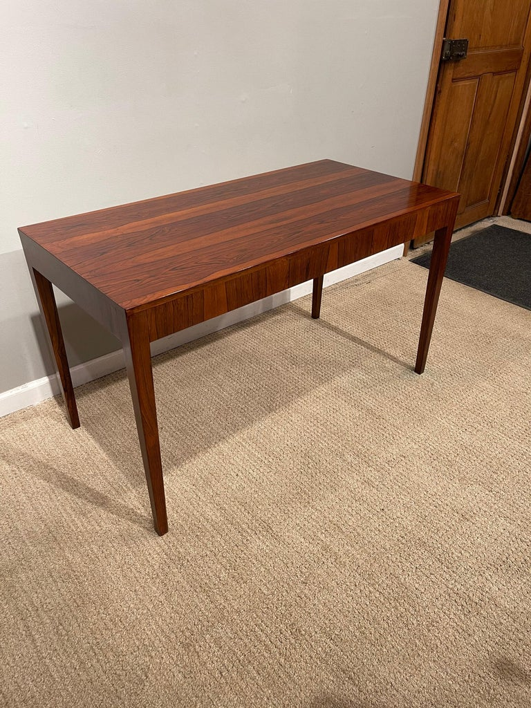 Rosewood Danish Modern Writing Table, by Riis Antonsen For Sale 9
