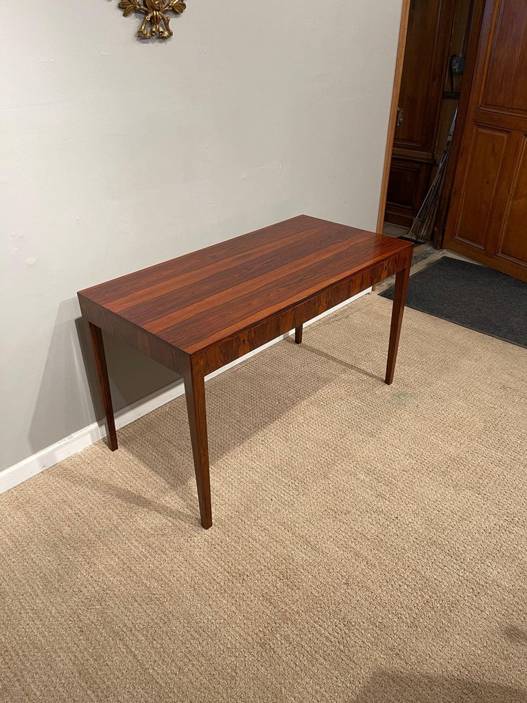 Rosewood Danish Modern Writing Table, by Riis Antonsen For Sale 2