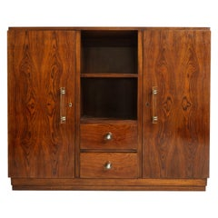 Rosewood, Deco Cabinet with Glass Handles in Jacques Adnet Style, France, 1940