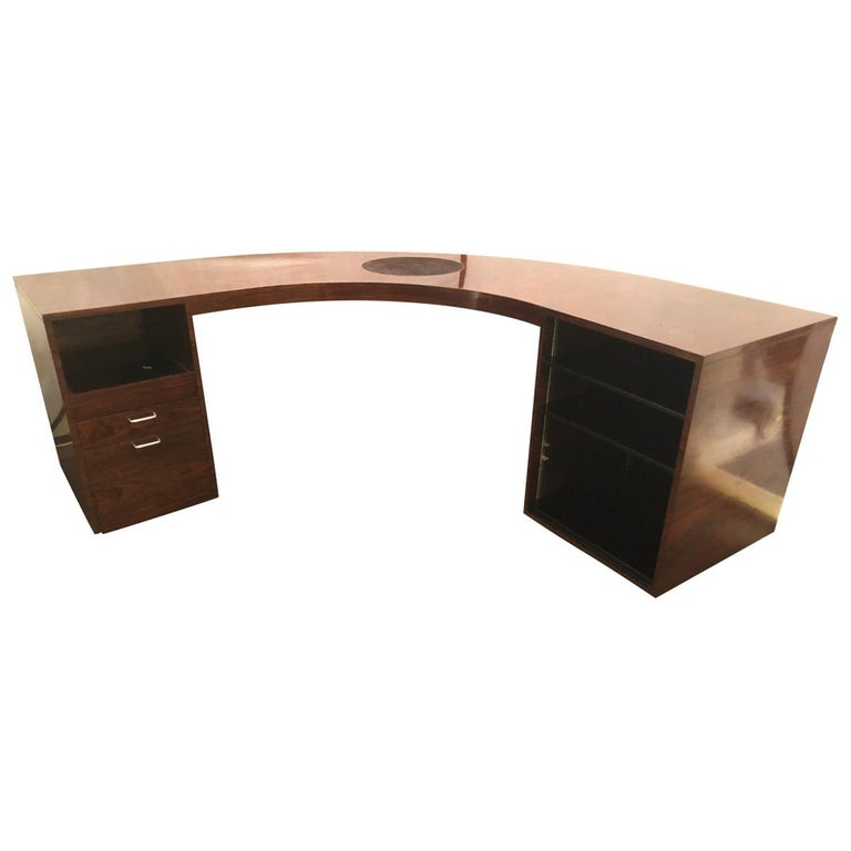 Rosewood Demilune Mid Century Modern Jewelers Or Large Office Desk