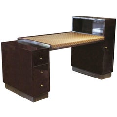 Rosewood Desk by Francisque Chaleyssin with Vintage Louis Vuitton Canvas Top