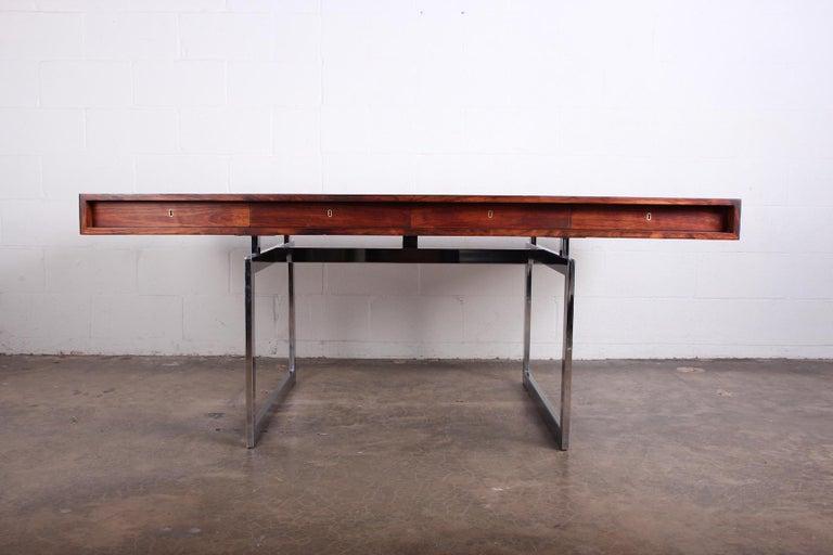 Rare desk in rosewood designed by Bodil Kjaer for E. Pedersen & Søn, 1959.